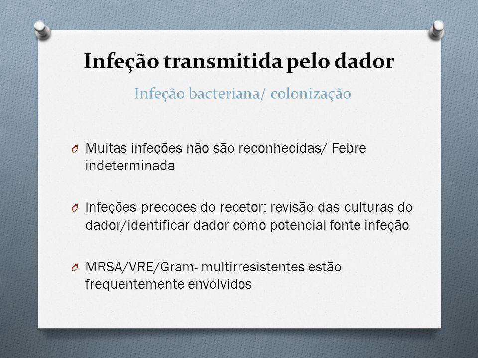 Infeção transmitida pelo dador O Muitas infeções não são reconhecidas/ Febre indeterminada O Infeções precoces do recetor: revisão das culturas do dad