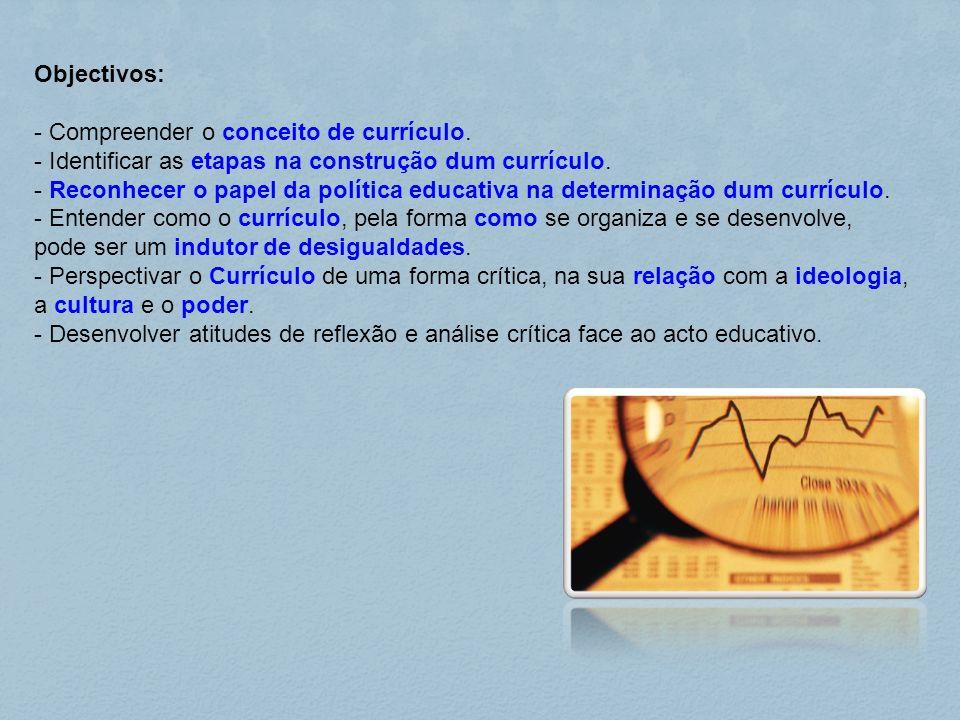 Objectivos: - Compreender o conceito de currículo. - Identificar as etapas na construção dum currículo. - Reconhecer o papel da política educativa na