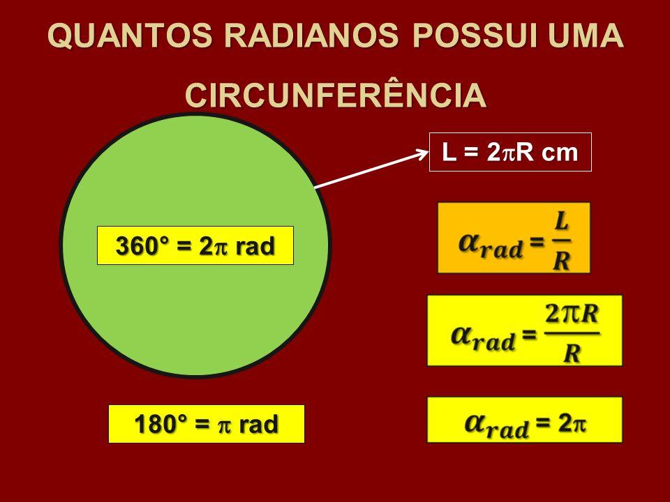 QUANTOS RADIANOS POSSUI UMA CIRCUNFERÊNCIA L = 2 R cm 360° = 2 rad 180° = rad