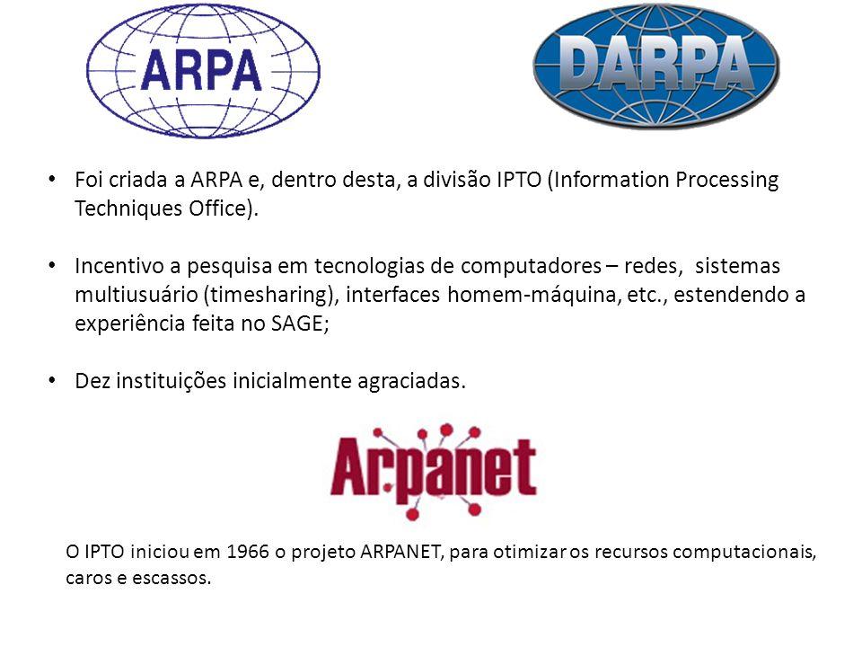 Foi criada a ARPA e, dentro desta, a divisão IPTO (Information Processing Techniques Office).