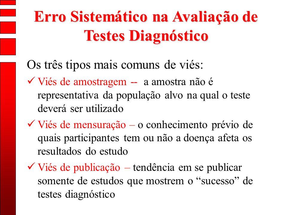 Erro Sistemático na Avaliação de Testes Diagnóstico Os três tipos mais comuns de viés: Viés de amostragem -- a amostra não é representativa da populaç