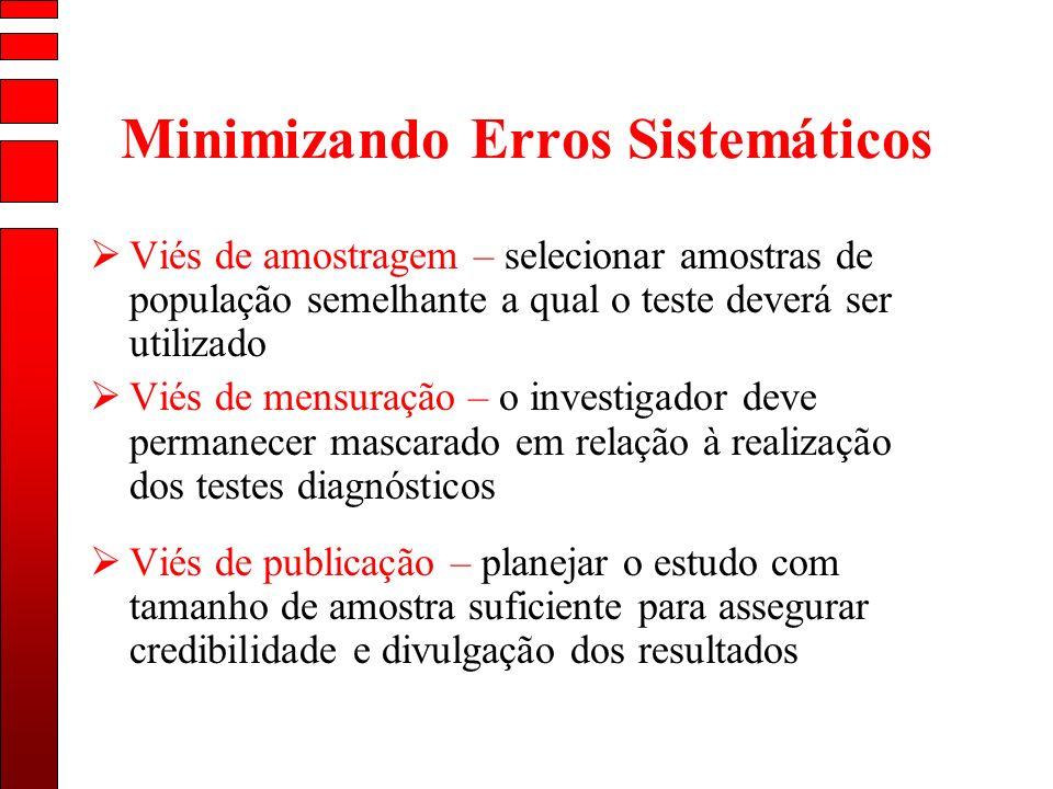 Minimizando Erros Sistemáticos Viés de amostragem – selecionar amostras de população semelhante a qual o teste deverá ser utilizado Viés de mensuração