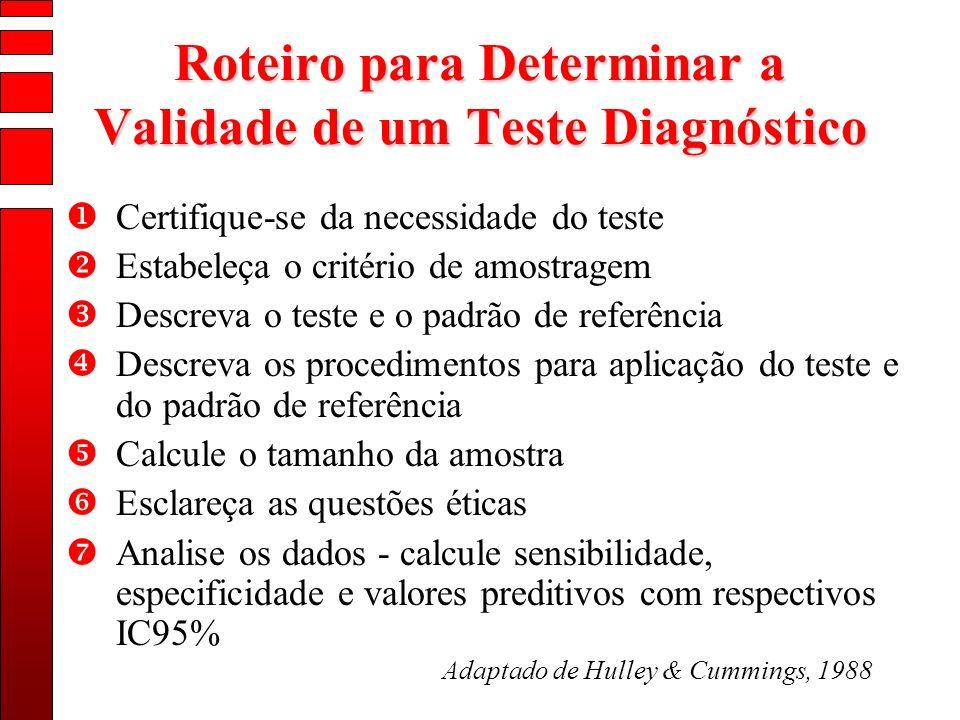 Roteiro para Determinar a Validade de um Teste Diagnóstico Certifique-se da necessidade do teste Estabeleça o critério de amostragem Descreva o teste