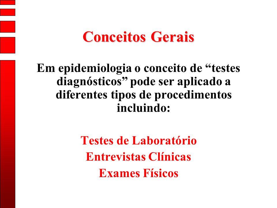 Conceitos Gerais Em epidemiologia o conceito de testes diagnósticos pode ser aplicado a diferentes tipos de procedimentos incluindo: Testes de Laborat