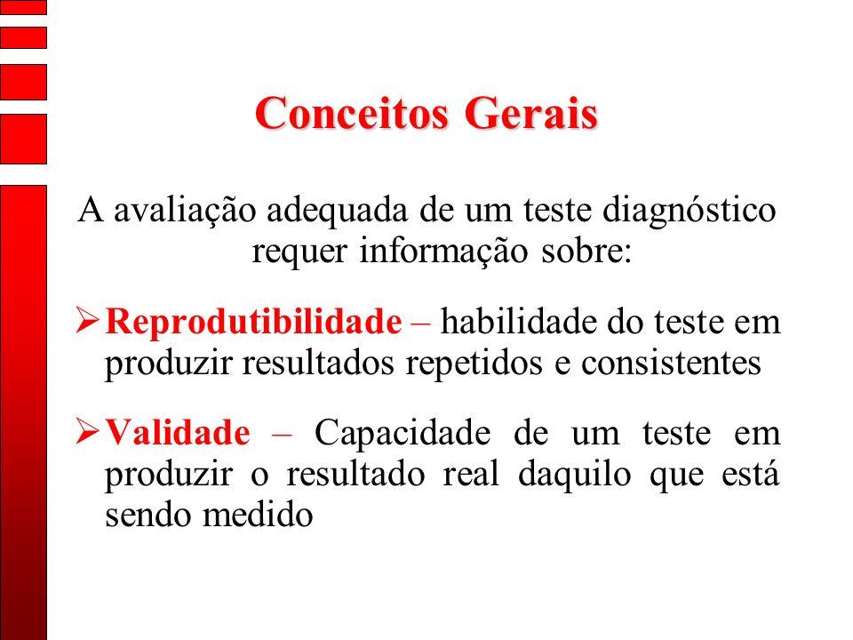 Conceitos Gerais A avaliação adequada de um teste diagnóstico requer informação sobre: Reprodutibilidade – habilidade do teste em produzir resultados
