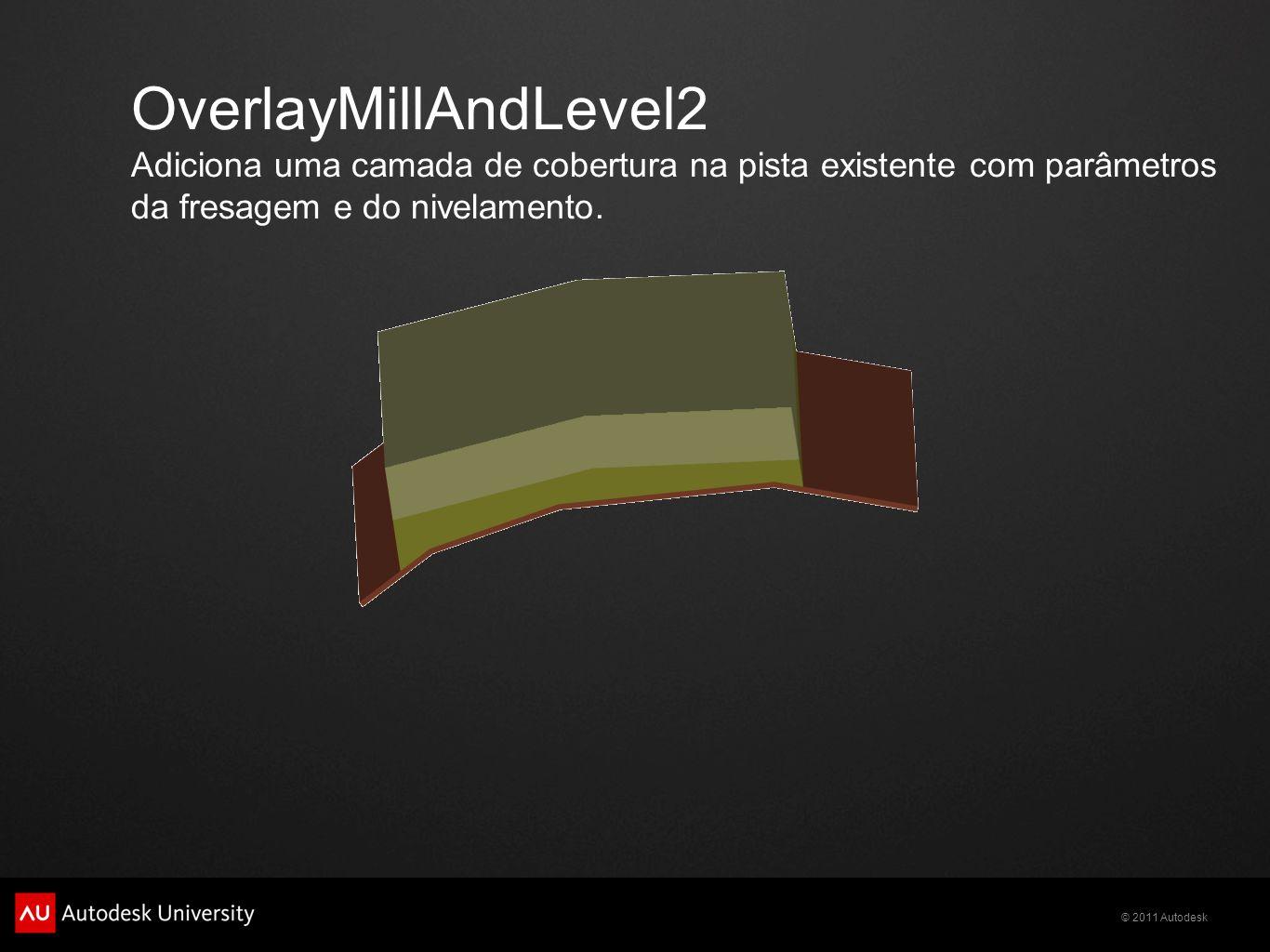 OverlayMillAndLevel2 Adiciona uma camada de cobertura na pista existente com parâmetros da fresagem e do nivelamento.
