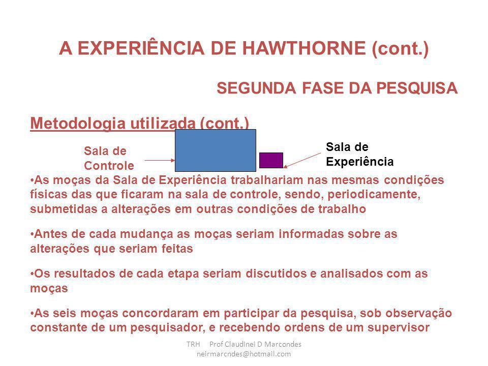 SEGUNDA FASE DA PESQUISA TRH Prof Claudinei D Marcondes neirmarcndes@hotmail.com