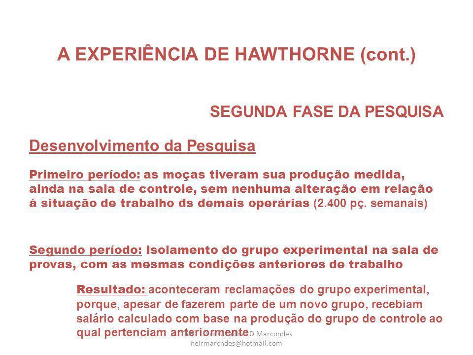 A EXPERIÊNCIA DE HAWTHORNE (cont.) SEGUNDA FASE DA PESQUISA Metodologia utilizada (cont.) As moças da Sala de Experiência trabalhariam nas mesmas cond