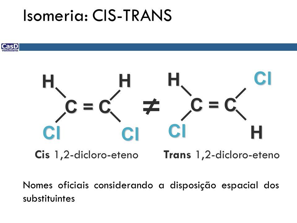 C = C Cl Cl HH Cl Cl H H Cis 1,2-dicloro-etenoTrans 1,2-dicloro-eteno Nomes oficiais considerando a disposição espacial dos substituintes Isomeria: CI