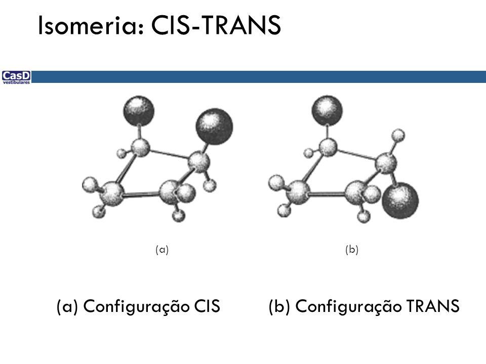 (b)(a) Isomeria: CIS-TRANS (a) Configuração CIS (b) Configuração TRANS