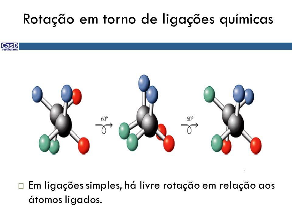 Em ligações simples, há livre rotação em relação aos átomos ligados.