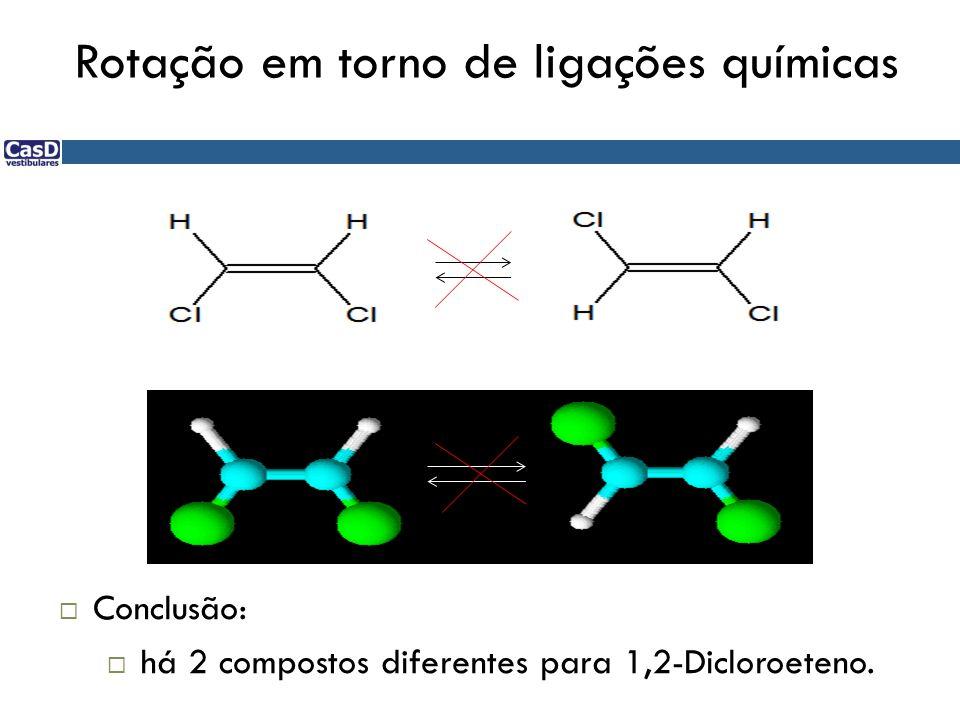 Rotação em torno de ligações químicas Conclusão: há 2 compostos diferentes para 1,2-Dicloroeteno.