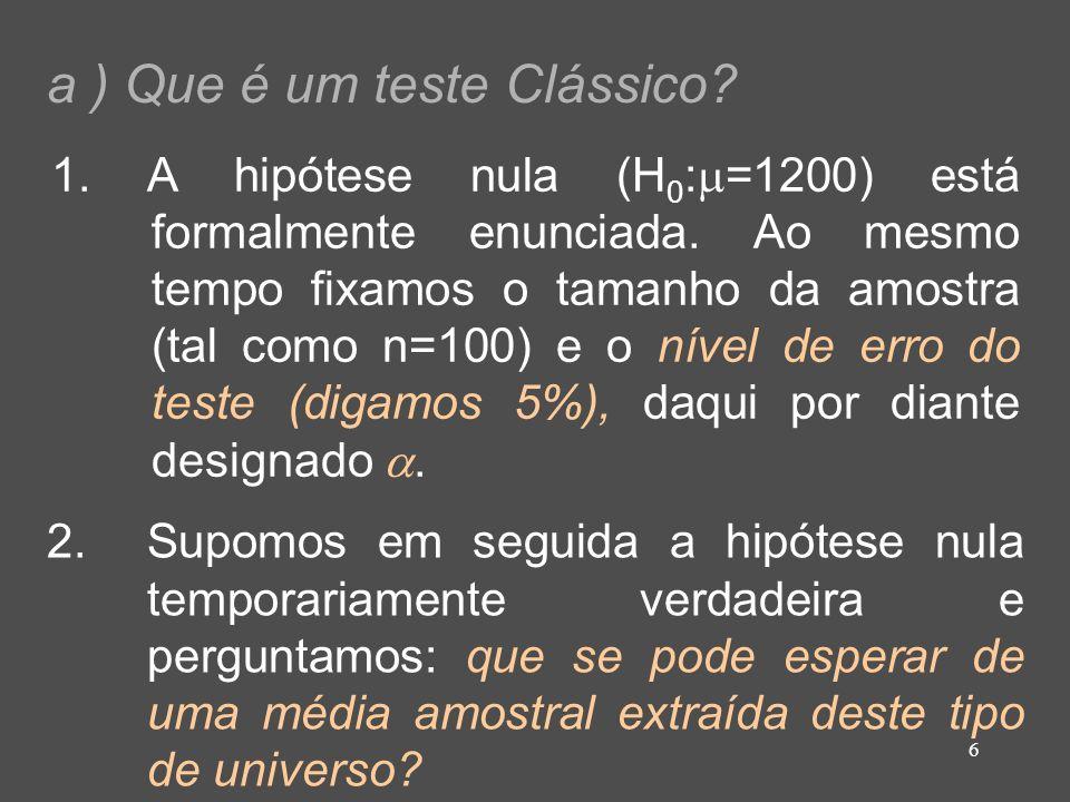 6 a ) Que é um teste Clássico? 1. A hipótese nula (H 0 : =1200) está formalmente enunciada. Ao mesmo tempo fixamos o tamanho da amostra (tal como n=10