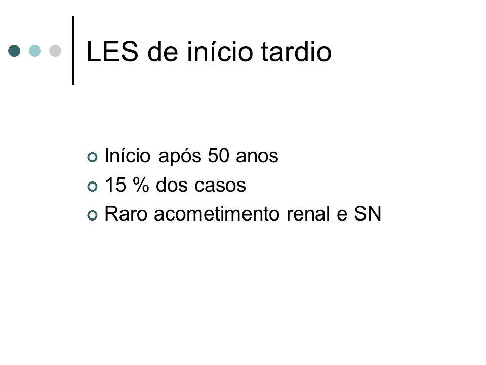 LES de início tardio Início após 50 anos 15 % dos casos Raro acometimento renal e SN