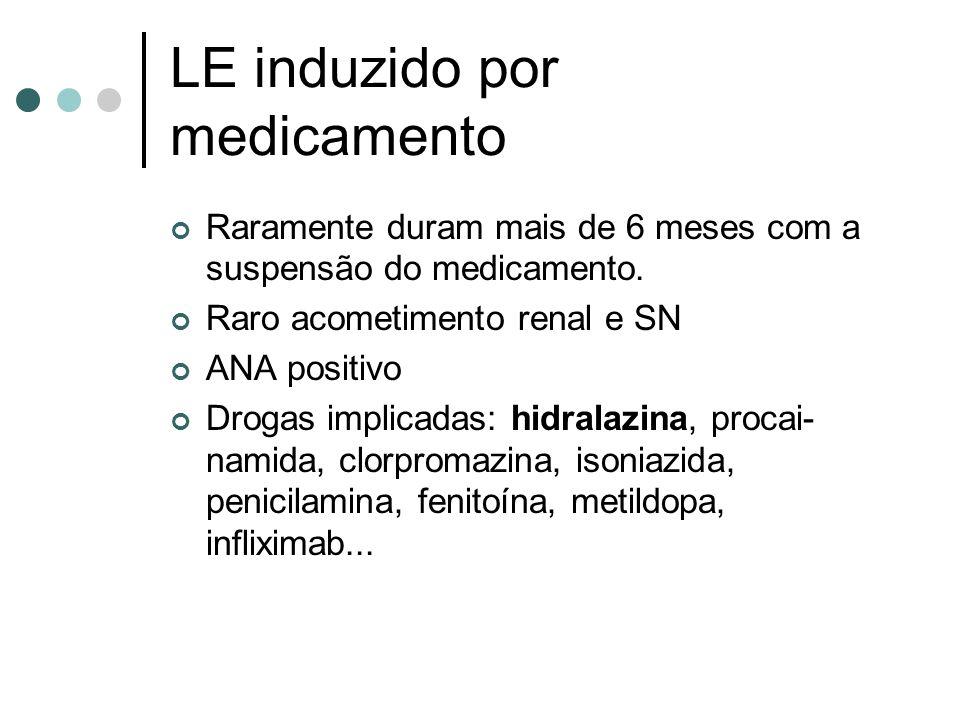 LE induzido por medicamento Raramente duram mais de 6 meses com a suspensão do medicamento. Raro acometimento renal e SN ANA positivo Drogas implicada