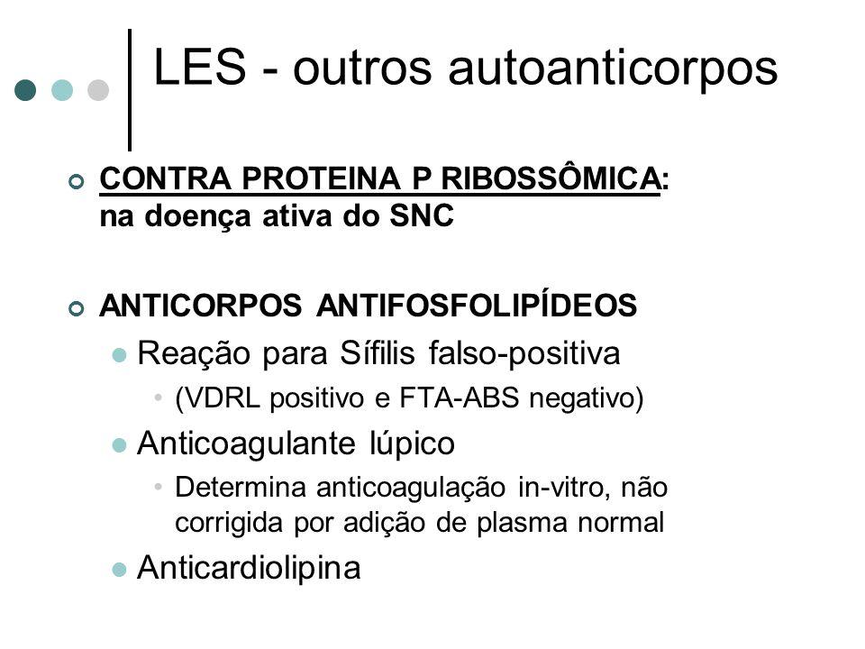 LES - outros autoanticorpos CONTRA PROTEINA P RIBOSSÔMICA: na doença ativa do SNC ANTICORPOS ANTIFOSFOLIPÍDEOS Reação para Sífilis falso-positiva (VDR