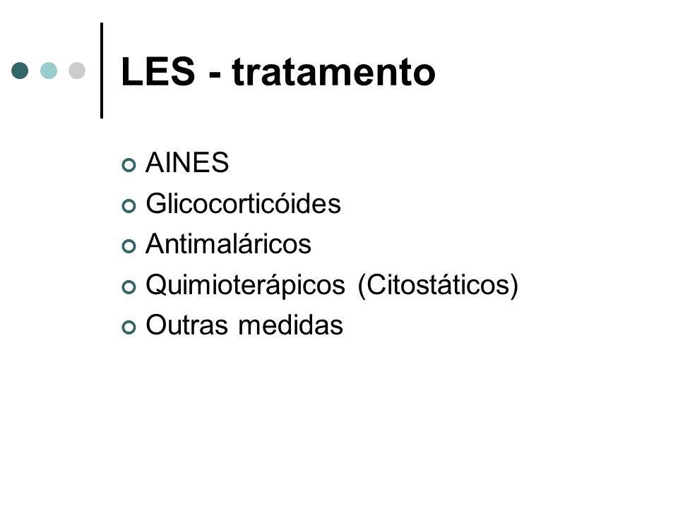 LES - tratamento AINES Glicocorticóides Antimaláricos Quimioterápicos (Citostáticos) Outras medidas