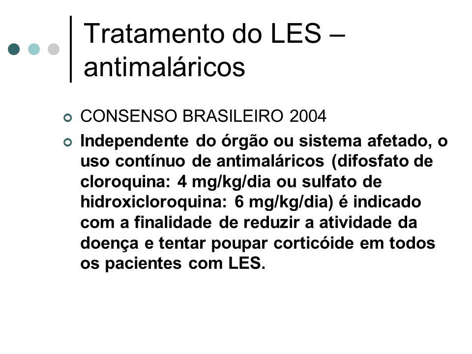 Tratamento do LES – antimaláricos CONSENSO BRASILEIRO 2004 Independente do órgão ou sistema afetado, o uso contínuo de antimaláricos (difosfato de clo