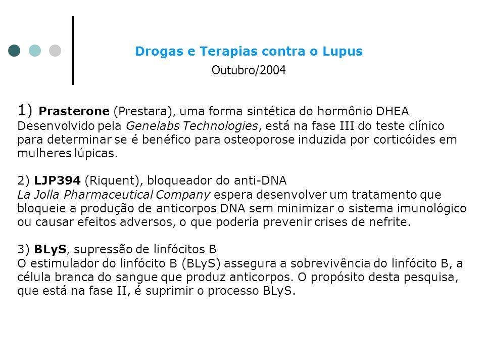 Drogas e Terapias contra o Lupus Outubro/2004 1) Prasterone (Prestara), uma forma sintética do hormônio DHEA Desenvolvido pela Genelabs Technologies,
