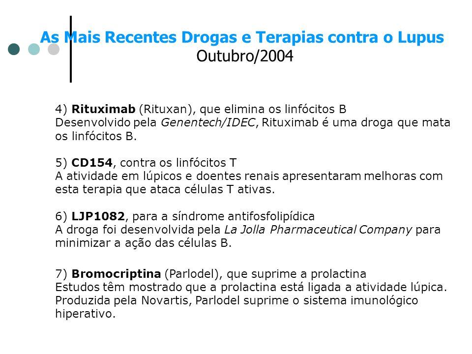 As Mais Recentes Drogas e Terapias contra o Lupus Outubro/2004 4) Rituximab (Rituxan), que elimina os linfócitos B Desenvolvido pela Genentech/IDEC, R