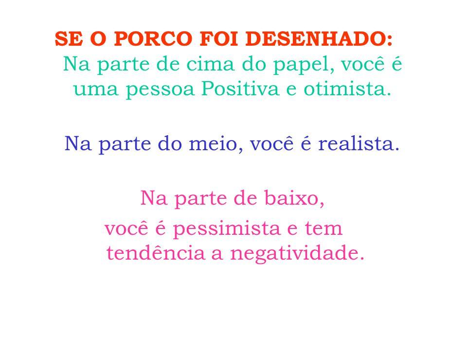 SE O PORCO FOI DESENHADO: Na parte de cima do papel, você é uma pessoa Positiva e otimista. Na parte do meio, você é realista. Na parte de baixo, você