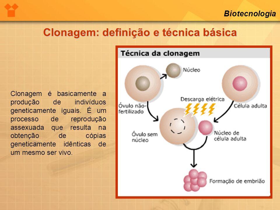 Biotecnologia Clonagem: definição e técnica básica Clonagem é basicamente a produção de indivíduos geneticamente iguais. É um processo de reprodução a