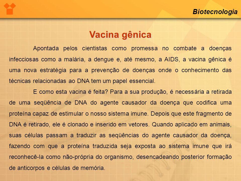 Biotecnologia Vacina gênica Apontada pelos cientistas como promessa no combate a doenças infecciosas como a malária, a dengue e, até mesmo, a AIDS, a