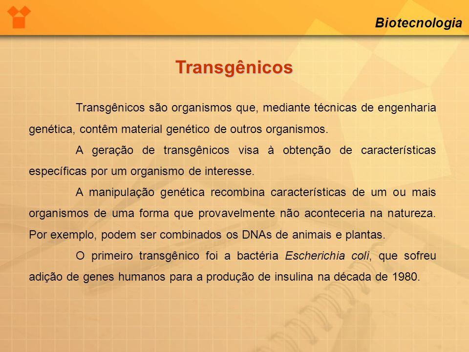 Biotecnologia Transgênicos Transgênicos são organismos que, mediante técnicas de engenharia genética, contêm material genético de outros organismos. A