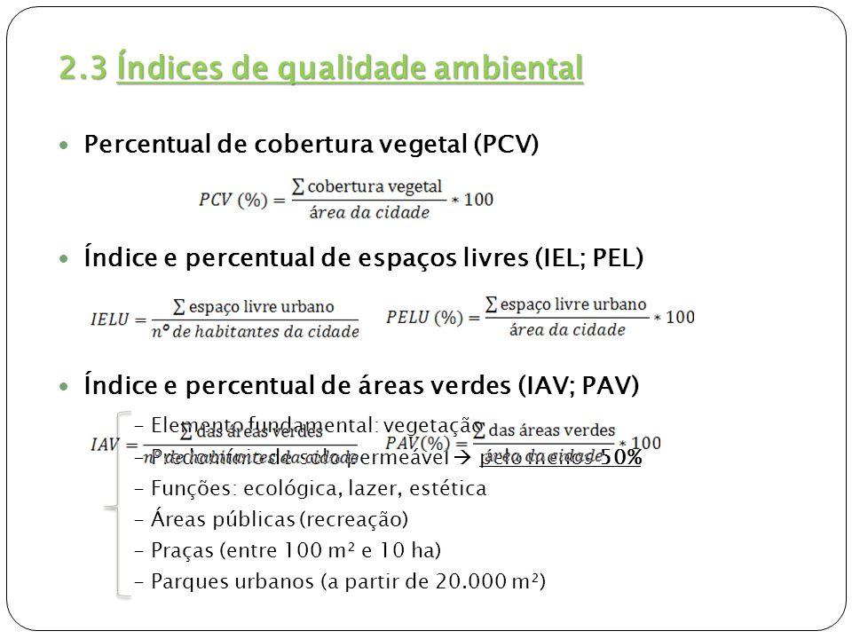 2.3 Índices de qualidade ambiental Índice e percentual de áreas verdes (IAV; PAV) - 70% de cobertura vegetal (CAVALHEIRO et al.,1999) - Menos de 50% de cobertura vegetal Proposta para o cálculo de IAV Proposta para o cálculo de IAV Áreas verdes (mínimo 50 % CV) e fragmentos florestais urbanos (UC) – USO PÚBLICO.