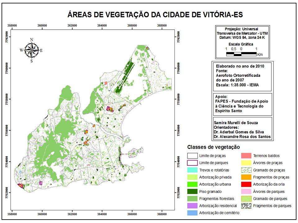 Análise das classes do mapeamento ClassesÁrea (ha)Área de estudo (%) Mapeamento (%) Limite de praças15,380,171,10 Limite de parques14,960,161,07 Trevos e rotatórias2,060,020,15 Arborização privada56,010,604,02 Arborização viária139,531,5010,01 Piso gramado108,571,177,79 Fragmentos florestais937,4310,0867,28 Arborização residencial76,000,825,45 Arborização de cemitério2,250,020,16 Terrenos baldios15,120,161,09 Árvores de praças4,780,050,34 Gramado de praças2,370,030,17 Fragmentos de praças1,690,020,12 Arborização da orla3,590,040,26 Árvores de parques5,020,050,36 Gramado de parques5,640,060,40 Fragmentos de parques2,980,030,21 Total das classes1.393,38 Total da área de estudo9.300 0,81 % 0,63 0,97 85 % 8,84 ha 13,64 ha 12,75 % 0,1 % 0,14 % 0,12 %