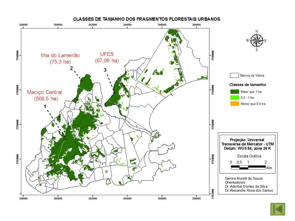 Maciço Central (508,5 ha) Ilha do Lameirão (75,3 ha) UFES (67,06 ha)