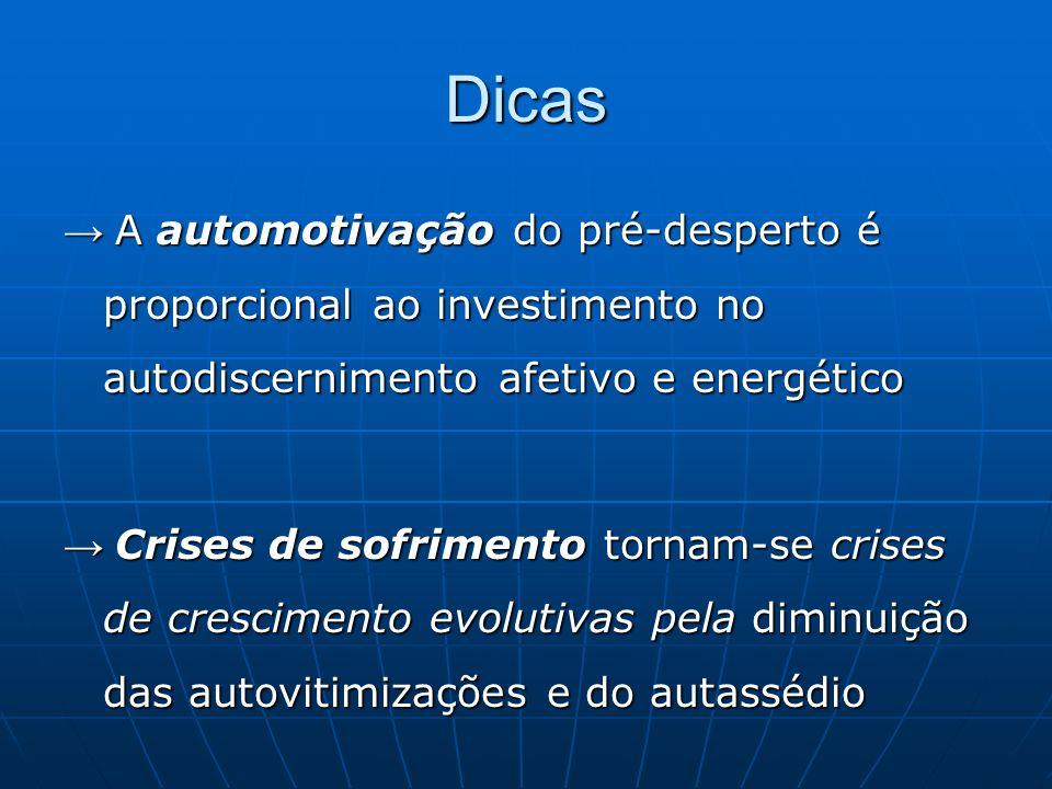 Dicas A automotivação do pré-desperto é proporcional ao investimento no autodiscernimento afetivo e energético A automotivação do pré-desperto é propo
