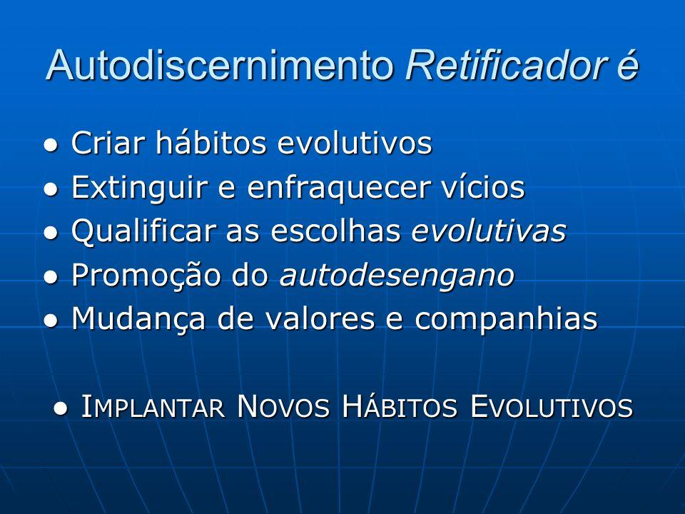 Autodiscernimento Retificador é Criar hábitos evolutivos Criar hábitos evolutivos Extinguir e enfraquecer vícios Extinguir e enfraquecer vícios Qualif
