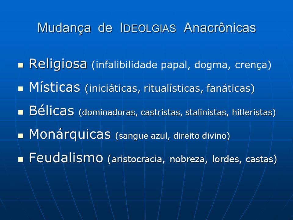 Mudança de I DEOLGIAS Anacrônicas Religiosa Religiosa (infalibilidade papal, dogma, crença) ísticas (iniciáticas, ritualísticas, fanáticas) Místicas (