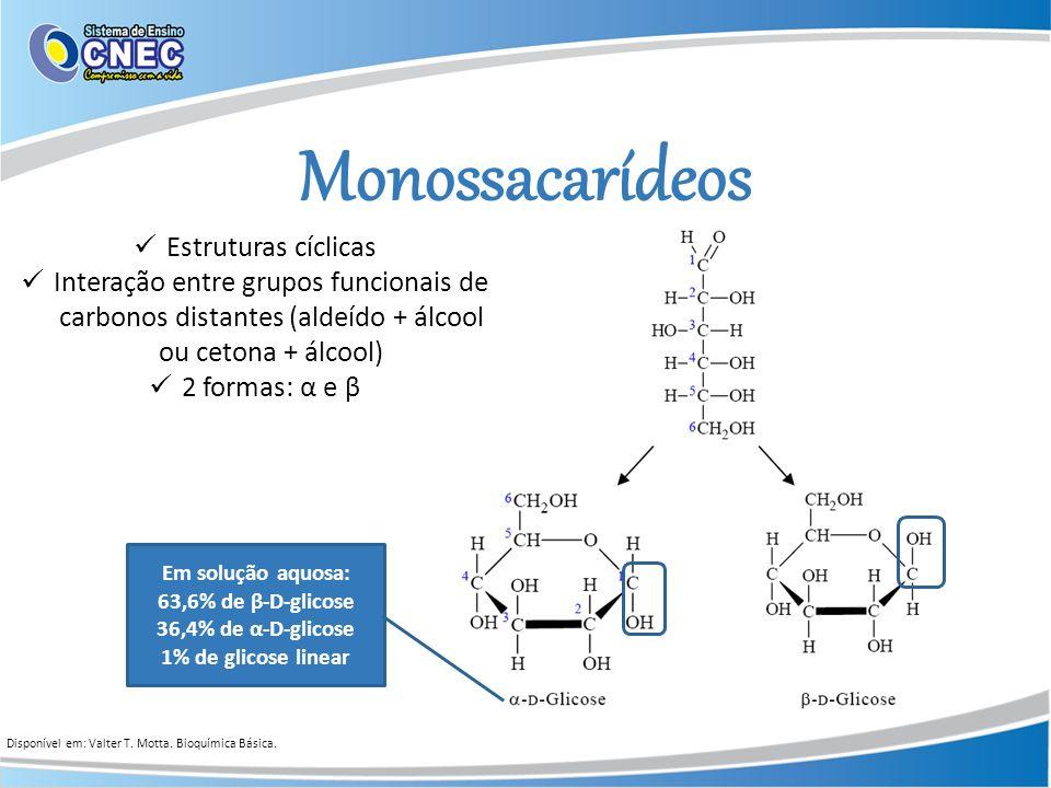 Monossacarídeos Estruturas cíclicas Interação entre grupos funcionais de carbonos distantes (aldeído + álcool ou cetona + álcool) 2 formas: α e β Em s
