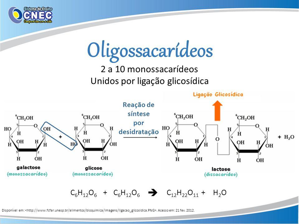 Oligossacarídeos 2 a 10 monossacarídeos Unidos por ligação glicosídica Reação de síntese por desidratação C 6 H 12 O 6 +C 12 H 22 O 11 H2OH2O+ Disponí