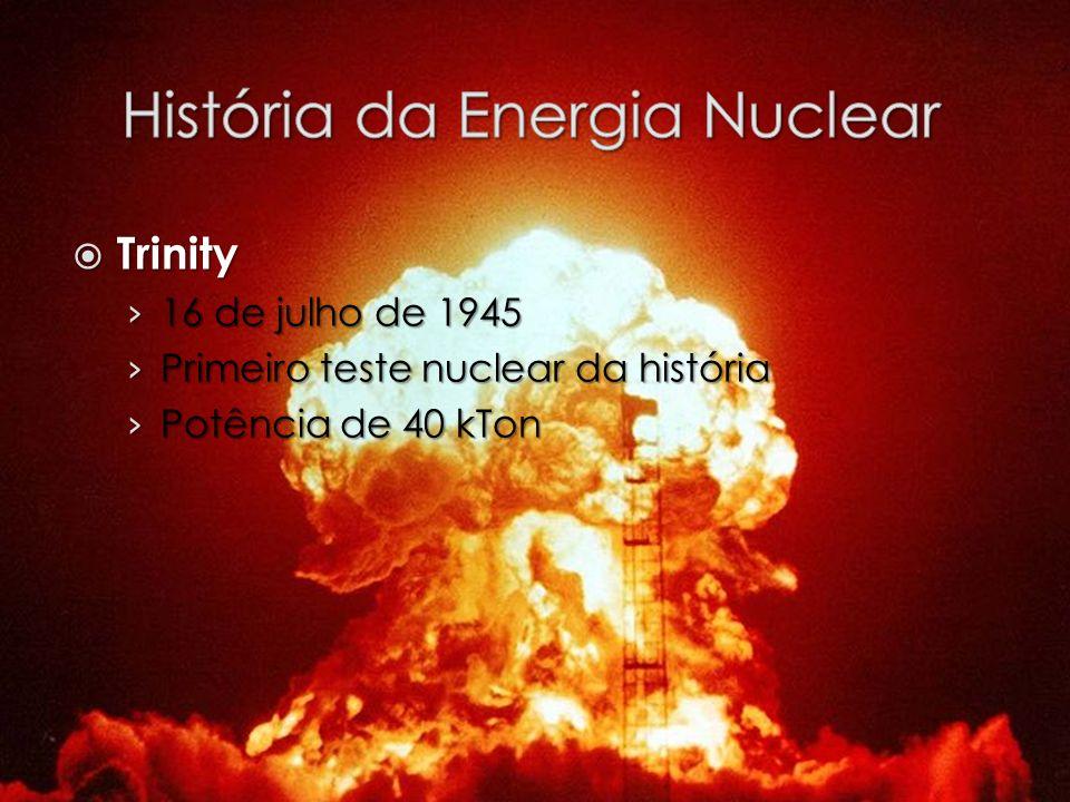 Trinity Trinity 16 de julho de 1945 16 de julho de 1945 Primeiro teste nuclear da história Primeiro teste nuclear da história Potência de 40 kTon Potê
