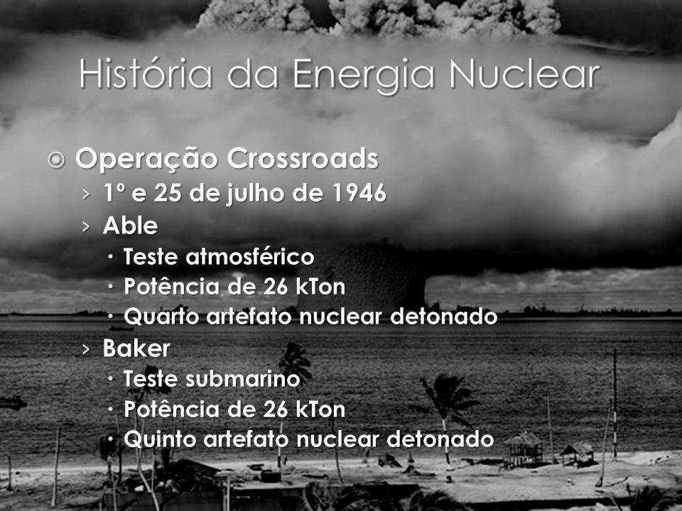Operação Crossroads Operação Crossroads 1º e 25 de julho de 1946 1º e 25 de julho de 1946 Able Able Teste atmosférico Teste atmosférico Potência de 26