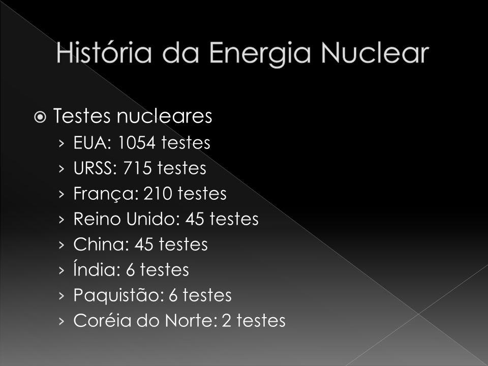 Testes nucleares EUA: 1054 testes URSS: 715 testes França: 210 testes Reino Unido: 45 testes China: 45 testes Índia: 6 testes Paquistão: 6 testes Coré