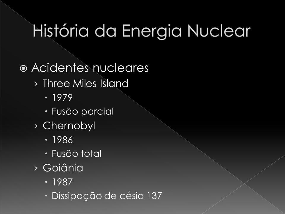 Acidentes nucleares Three Miles Island 1979 Fusão parcial Chernobyl 1986 Fusão total Goiânia 1987 Dissipação de césio 137