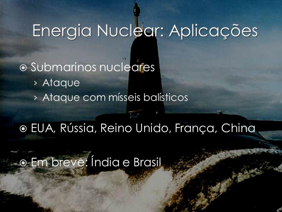 Submarinos nucleares Ataque Ataque com mísseis balísticos EUA, Rússia, Reino Unido, França, China Em breve: Índia e Brasil