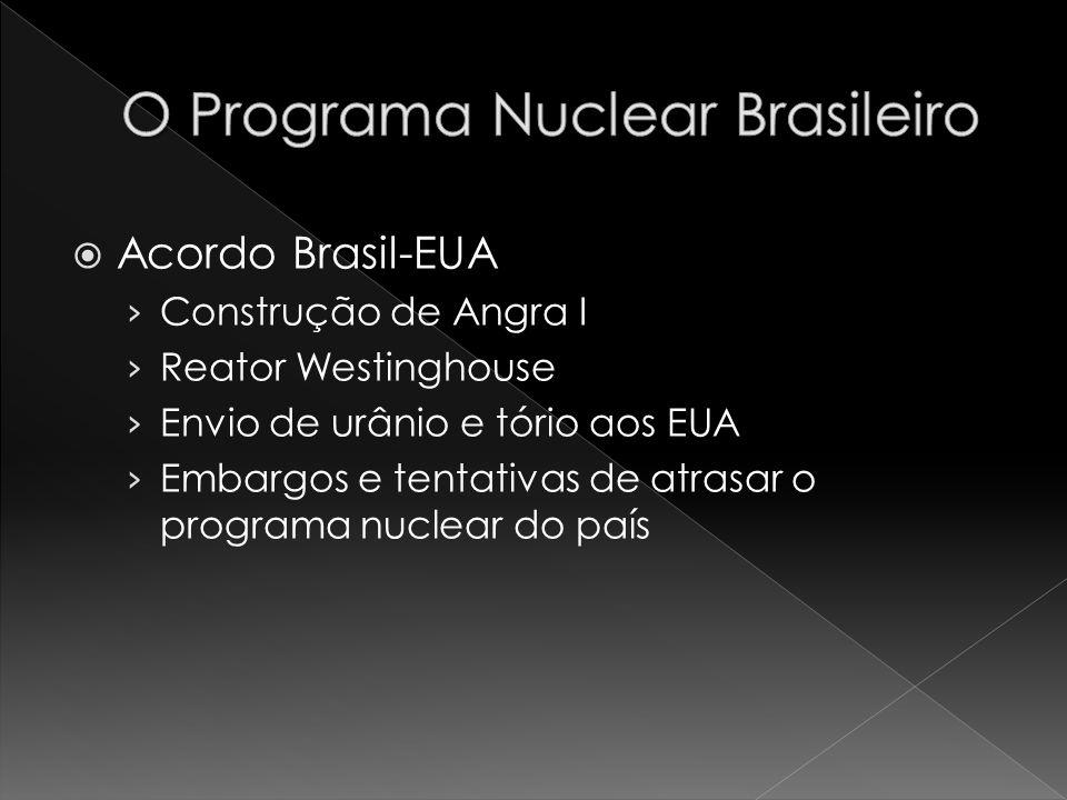 Acordo Brasil-EUA Construção de Angra I Reator Westinghouse Envio de urânio e tório aos EUA Embargos e tentativas de atrasar o programa nuclear do paí