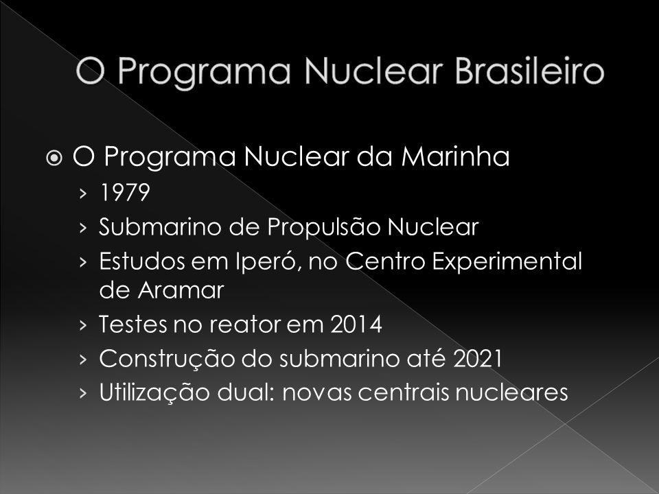 O Programa Nuclear da Marinha 1979 Submarino de Propulsão Nuclear Estudos em Iperó, no Centro Experimental de Aramar Testes no reator em 2014 Construç