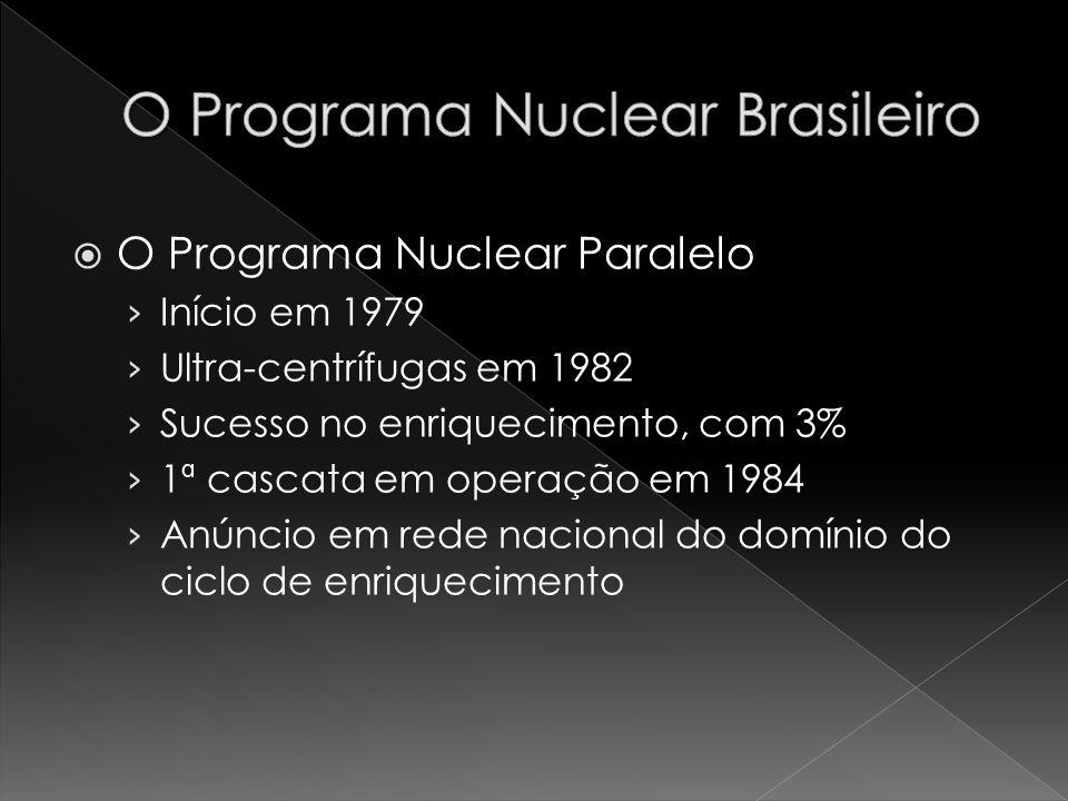 O Programa Nuclear Paralelo Início em 1979 Ultra-centrífugas em 1982 Sucesso no enriquecimento, com 3% 1ª cascata em operação em 1984 Anúncio em rede