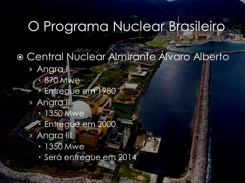 Central Nuclear Almirante Álvaro Alberto Angra I 870 Mwe Entregue em 1980 Angra II 1350 Mwe Entregue em 2000 Angra III 1350 Mwe Será entregue em 2014
