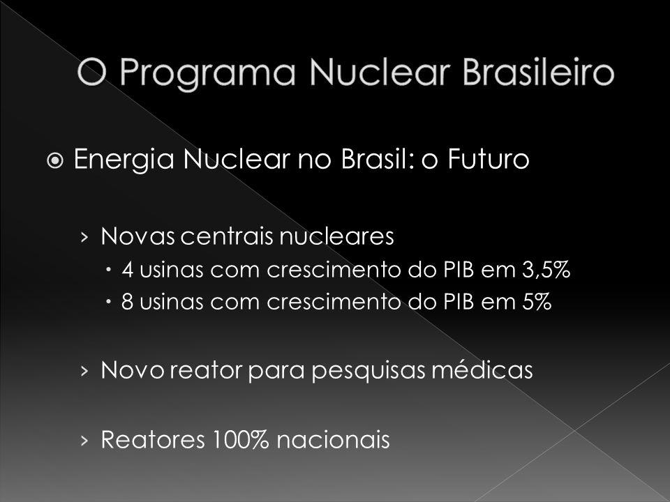 Energia Nuclear no Brasil: o Futuro Novas centrais nucleares 4 usinas com crescimento do PIB em 3,5% 8 usinas com crescimento do PIB em 5% Novo reator