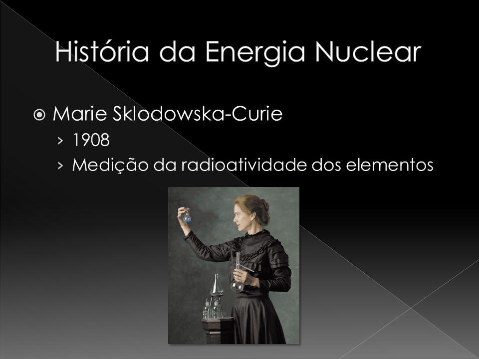 Marie Sklodowska-Curie 1908 Medição da radioatividade dos elementos