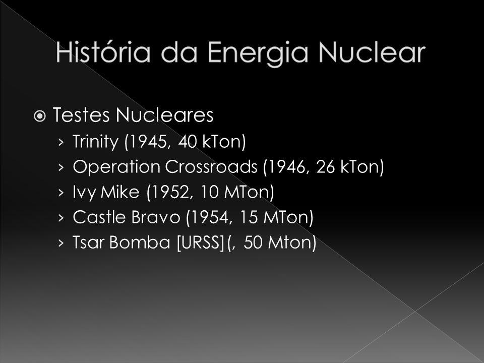 Testes Nucleares Trinity (1945, 40 kTon) Operation Crossroads (1946, 26 kTon) Ivy Mike (1952, 10 MTon) Castle Bravo (1954, 15 MTon) Tsar Bomba [URSS](