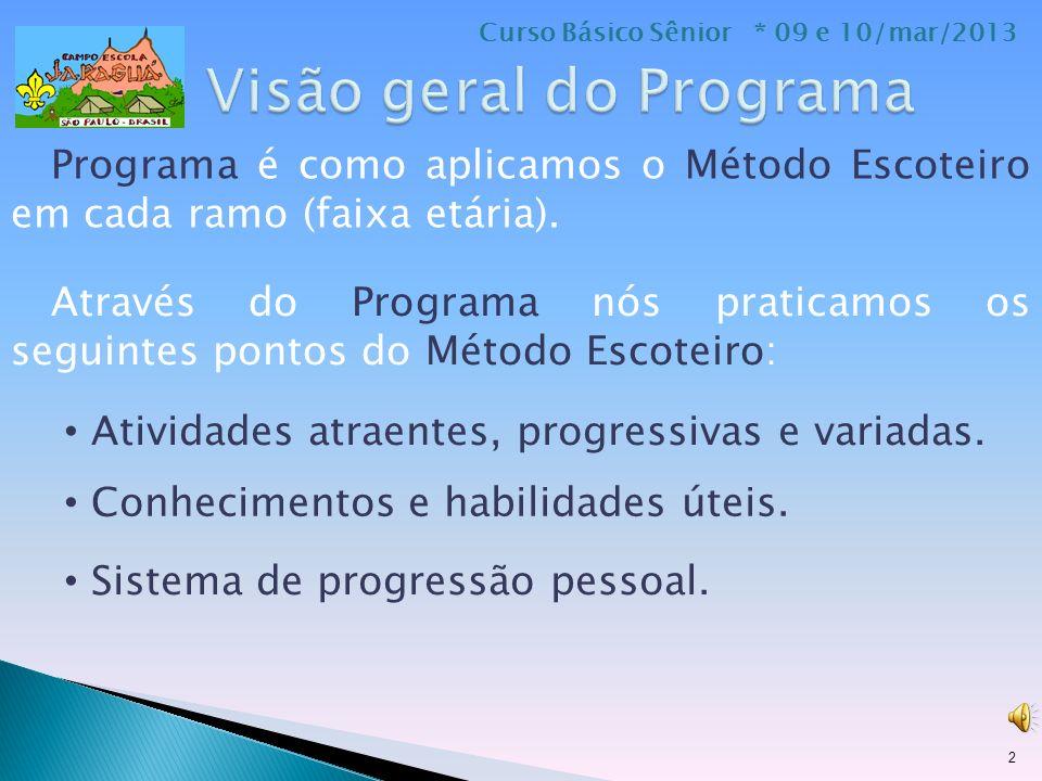 Programa é como aplicamos o Método Escoteiro em cada ramo (faixa etária).