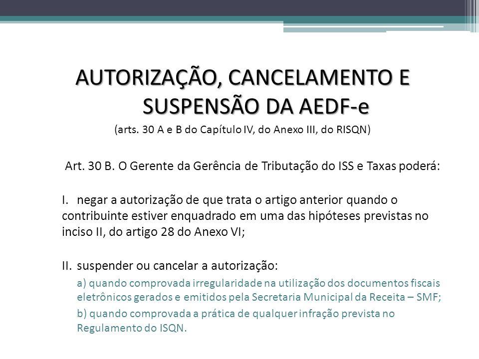 AUTORIZAÇÃO, CANCELAMENTO E SUSPENSÃO DA AEDF-e (arts. 30 A e B do Capítulo IV, do Anexo III, do RISQN) Art. 30 B. O Gerente da Gerência de Tributação